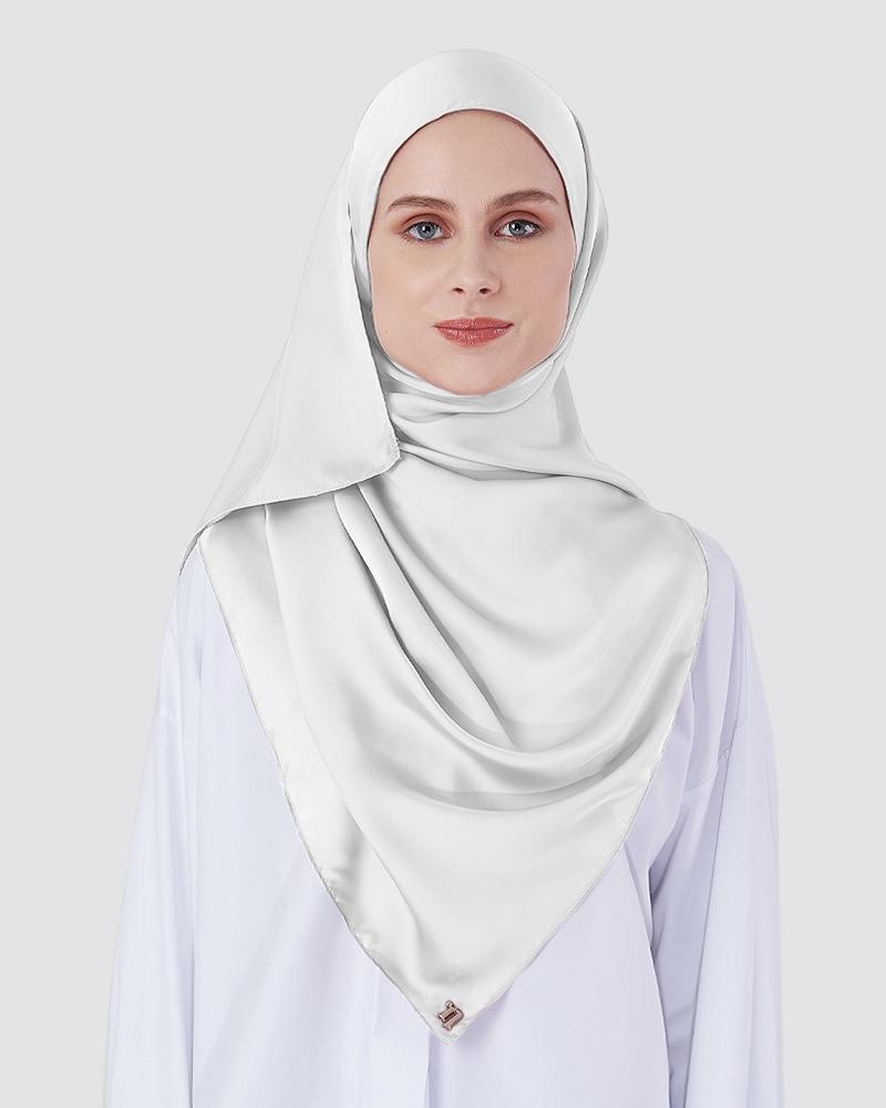 SWARA SATIN SHAWL  - WHITE